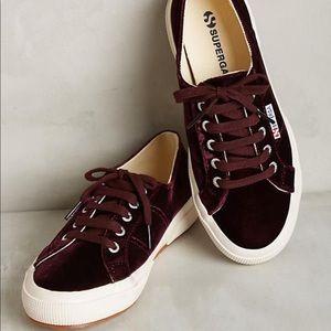 Superga Burgundy Velvet Sneaker 37/6.5